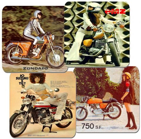 Seventies Vintage Motorcycle Coasters Set Of 4. Motorbike 70s Classic Bike Gift
